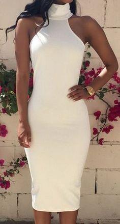 Gorgeous Turtleneck with Back Hole Bodycon White Dress For Women