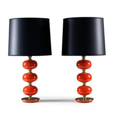 Pair of table lamps in glass and brass by Tranås Stilarmatur
