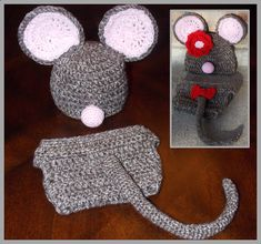 Crocheted Mouse Hat & Diaper Cover Pattern  von ThoughtsKnotsStitch, $2.45