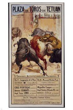 PLAZA DE TOROS BULLFIGHT vintage poster spain 1955 24X36 HORNS bulls NEW - QW0 #spainbullfighting