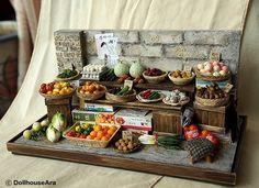 Vintage Street Shop-The alley Vegetable stalls-handmade Dollhouse Miniatures on…