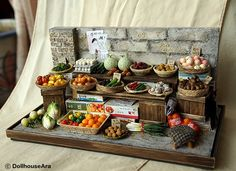 Vintage Street Shop-The alley Vegetable stalls-handmade Dollhouse Miniatures