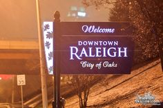 Downtown Raleigh sign in the snow