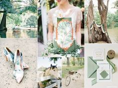 Town and country wedding inspiration board with a green color palette