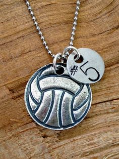 Sterling Silver Volleyball - Water Polo Necklace with Hand Stamped Number or Initial on Etsy, $38.00