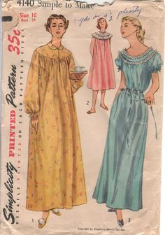 50s Vintage Sewing Pattern Simple to Make Nightgowns by HoneymoonBus on Etsy, $8.99
