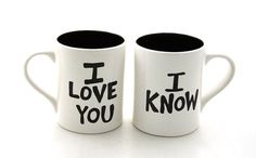 Star Wars (R) Han Solo and Leia  Mug Set I love You I know  for Wedding or Anniversary