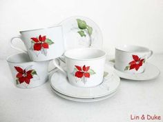 FOUR-SETS-Block-Spal-POINSETTIA-WATERCOLOR-by-Goertzen-CUPS-SAUCERS Settings, Blocks, Cup And Saucer, China, Poinsettia, Dinnerware, China Dinnerware, Ebay