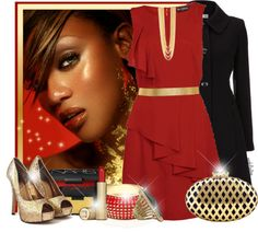 """""""Gold and Red Contest"""" by angkclaxton ❤ liked on Polyvore"""