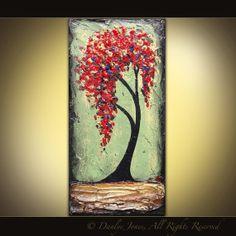 Red Tree original acrylic painting on canvas 10x20