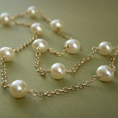 Tin cup pearl necklace freshwater pearl station by KGarnerDesigns