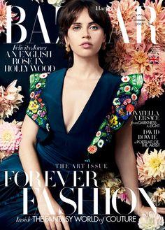 Actress Felicity Jones graces the cover of the October's Harper's Bazaar UK in Fendi Resort 2017, celebrating creativity in all its forms.