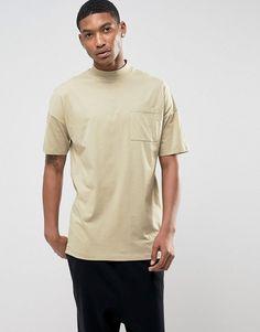 ASOS Oversized Turtleneck T-Shirt With Pocket - Beige
