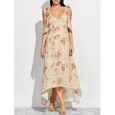 Cold Shoulder Maxi Floral Dress