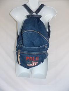 Ralph Lauren Polo Jean Back Pack Women's Denim Blue Red flag #PoloRalphLauren #Backpack