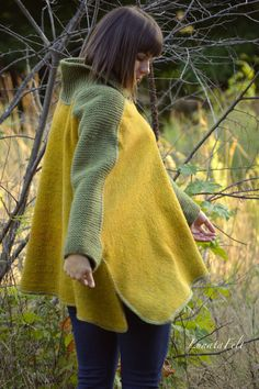 Sweet mustard felt poncho from natural silk and by LunataFelt
