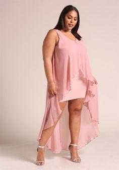 Plus Size Clothing | Plus Size Chiffon Waterfall Ruffle Surplice Hi-Lo Dress | Debshops