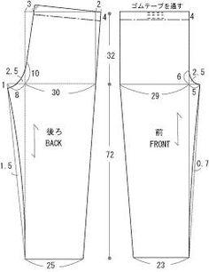 Japanese Sewing Patterns, Pdf Sewing Patterns, Clothing Patterns, Dress Patterns, Sewing Pants, Sewing Clothes, Pattern Cutting, Pattern Making, Fashion Illustration Tutorial