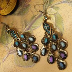 beautiful peacock earrings