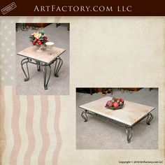 Custom Matching Coffee And End Tables – Genuine Stone Tops With Decorative Blacksmith Hand Forged Wrought Iron Bases Original Designs By Award Winning Artist H. Nick, Fine Art Quality Home Furnishings Custom Made To Order