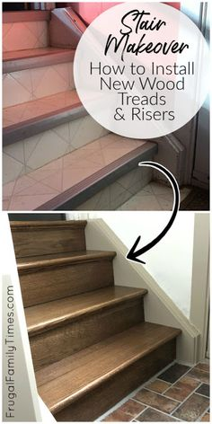 There's a simple way to make your old carpet, vinyl or plywood stairs look beautiful. And on a budget! With this DIY tutorial we show you how to install hardwood stair treads. We also share the cost to install stair treads and risers - it's cheape Hardwood Stair Treads, Stairs Treads And Risers, Banisters, Railings, Awesome Woodworking Ideas, Woodworking Projects For Kids, Fine Woodworking, Woodworking Techniques, Redo Stairs