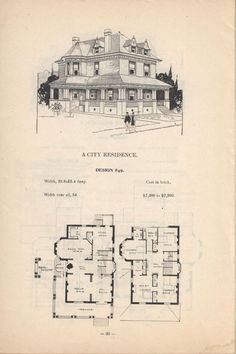 4 square house plan 2 story 1920s Vintage house plan Artistic city