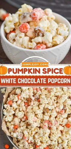 A pumpkin recipe for all your fall gatherings! Coated in white chocolate and mixed with pumpkin spice, this popcorn is the perfect way to celebrate any party. Save this easy, delicious snack idea! Recipes Using Fruit, Nut Recipes, Pumpkin Pie Recipes, Fall Recipes, Snack Recipes, Popcorn Recipes, Yummy Recipes, Dessert Recipes, Desserts