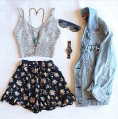 shorts fashion High waisted shorts denim jacket jacket top , For More Fashion Visit Our Website cute summer outfits, cute summer outfits outfit ideas,casual outfits shorts . Cute Summer Outfits, Outfits For Teens, Spring Outfits, Trendy Outfits, Summer Shorts, Summer Cardigan, Dress Summer, Summer Hair, Summer Concert Outfits