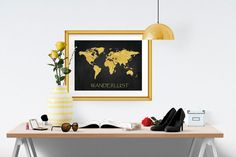 Solomon knot printable gold decor gold and black print gold foil wanderlust world map gold foil print 10x8 and 14x11 travel world traveler art print gumiabroncs Choice Image