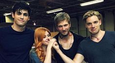 "They're always ""picking"" on me on set...@/shadowhunterstv @/abcfamily #regram @/jon_cor @/DomSherwood1 @/matthewdaddario"