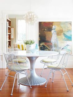 I just want this painting on the wall. It's very interesting. If I stayed with light colors on dining seating. This would go perfect with the light fixture in my other dining room pin.