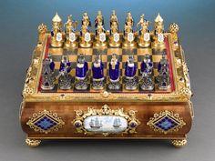 Antique Objets d'Art, Game Boxes, Austro-Hungarian Silver Chess Set ~ M.S. Rau Antiques