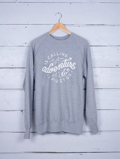 Adventure Is Calling graphic T-shirt – The Level Collective – hand screenprinted in Sheffield on ethically made 100% organic cotton sweaters.