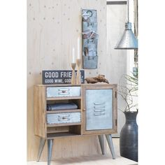 New Wooden Beautiful Cabinet funky looking industrial styling thats sure to make the ladies scream for this type of retro design, at Smithers of Stamford Modern Industrial, Vintage Industrial, Wooden Cabinets, Metal Chairs, Retro Design, Living Room Chairs, Vintage Wood, Stamford, Hallways