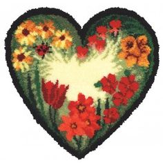 Mary Maxim - Floral Heart Latch Hook Rug - Latch Hook Rug Kits - Latch Hook - Crafts
