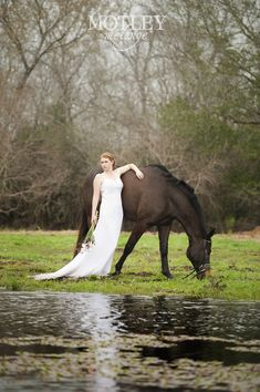 "Real bride Anna with her horse, Skye, having a ""trash the dress"" moment in Houston."