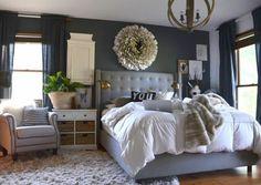 Pretty dark grey master bedroom by @Nester Smith :)