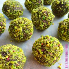 Choc Pistachio Bliss Balls emojiemoji Ingredients: 1 cup Cashews, 1/3 cup melted Coconut Oil, 1/4 cup Vegan Protein Powder (I used Choc Sunwarrior), 2 Tbs Cacao, 10 Medjool Dates (soaked in warm water), a splash of Coconut or Almond Milk to help blend.