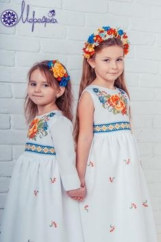 Embroidery On Kurtis, Kurti Embroidery Design, Folk Embroidery, Baby Girl Dresses, Baby Dress, Flower Girl Dresses, Ethnic Fashion, Kids Fashion, Kids Kaftan