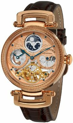 Stuhrling Original Men's 353A.334K14 Special Reserve Emperor Magistrate Automatic Skeleton Dual Time Zone Rose Tone Watch Stuhrling Original. $184.98. Polished 16K rose gold layered round shaped case with coin edge bezel. Brown crocodile embossed genuine leather strap with rose tone tang buckle. Water-resistant to 50 M (165 feet). Skeleton dial with rose tone faceplate and dual time display with am/pm indicator. Protective Krysterna crystal on front and back