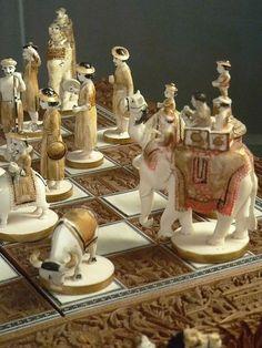 Sandalwood and Ivory Chess Set India 19th century CE