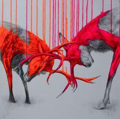 Louise McNaughts popartdjur lyser av färg och värme http://blish.se/9c0da11806 #louisemcnaught #popart #djur #neonfärg #popkonst