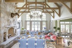 There are few places better to gather friends & family than a lake house. We helped design this new construction home perfect for entertaining at the lake giving it a colorful palette and patterns that feel perfect for summer fun. Interior by Summer Thornton Design