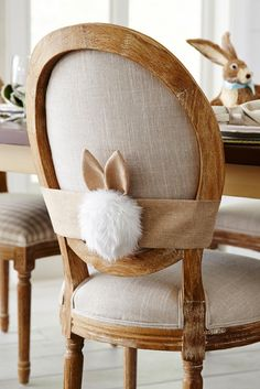 Decorating your dining room for Easter needn't be hard work. Just add Pier 1's Cottontail with Ears Chair Decor to each chair and, voila! You've given your dining room some bunny love.