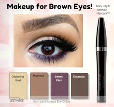 Have brown eyes? You are so lucky! You can play with just about any color and it looks great! As a Mary Kay beauty consultant I can help you, please let me know what you would like or need. www.marykay.com/lrouse