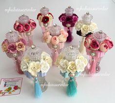 Rengarenk Çiçek Süslemeli Kolonya Ve Şekerlik Setleri   Öykülü Tasarımlar