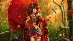 Free Wallpapers: Fantasy Asian chinese japanese girl wearing red dress | Digital Art