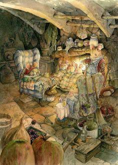 The Mice the Shoemaker – Print for Sale by GabrielEvans.devi… on The Mice the Shoemaker – Print for Sale by GabrielEvans. Art And Illustration, Gravure Illustration, Fairytale Art, Fairy Art, Whimsical Art, Cute Art, Illustrators, Fantasy Art, Book Art
