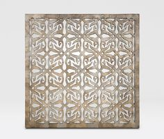 """Mae :: """"A square panel is hand cut in a beautiful pattern that has both organic and geometrical influences.  We then carefully cover it with a lightly stained capis shell, which shimmers and sparkles with depth."""""""