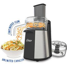 Oster® Oskar™ 2-in-1 Salad Prep & Food Processor | ON SALE $29.88  Slices, shreds, chops and purees with precision and ease to prep everything from appetizers to desserts with speed and power.  Its Continuous Flow attachment and reversible stainless steel slice-shred blades are designed for fast salad making and ingredient prep with an endless capacity, so you can fill bowl after bowl of freshly sliced and shredded veggies, cheeses and more.